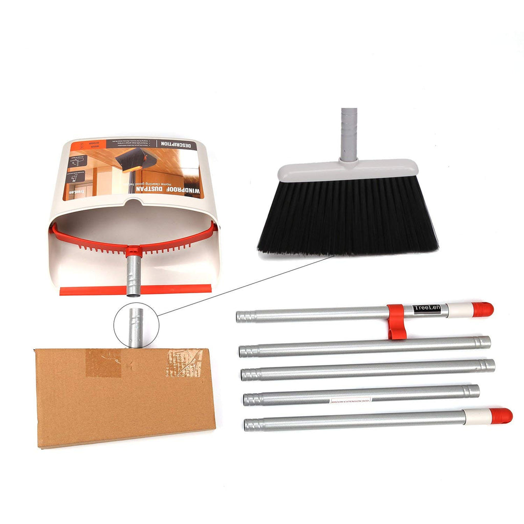 Broom and Dustpan Set with Long Extendable Handle,Red and Dark Grey