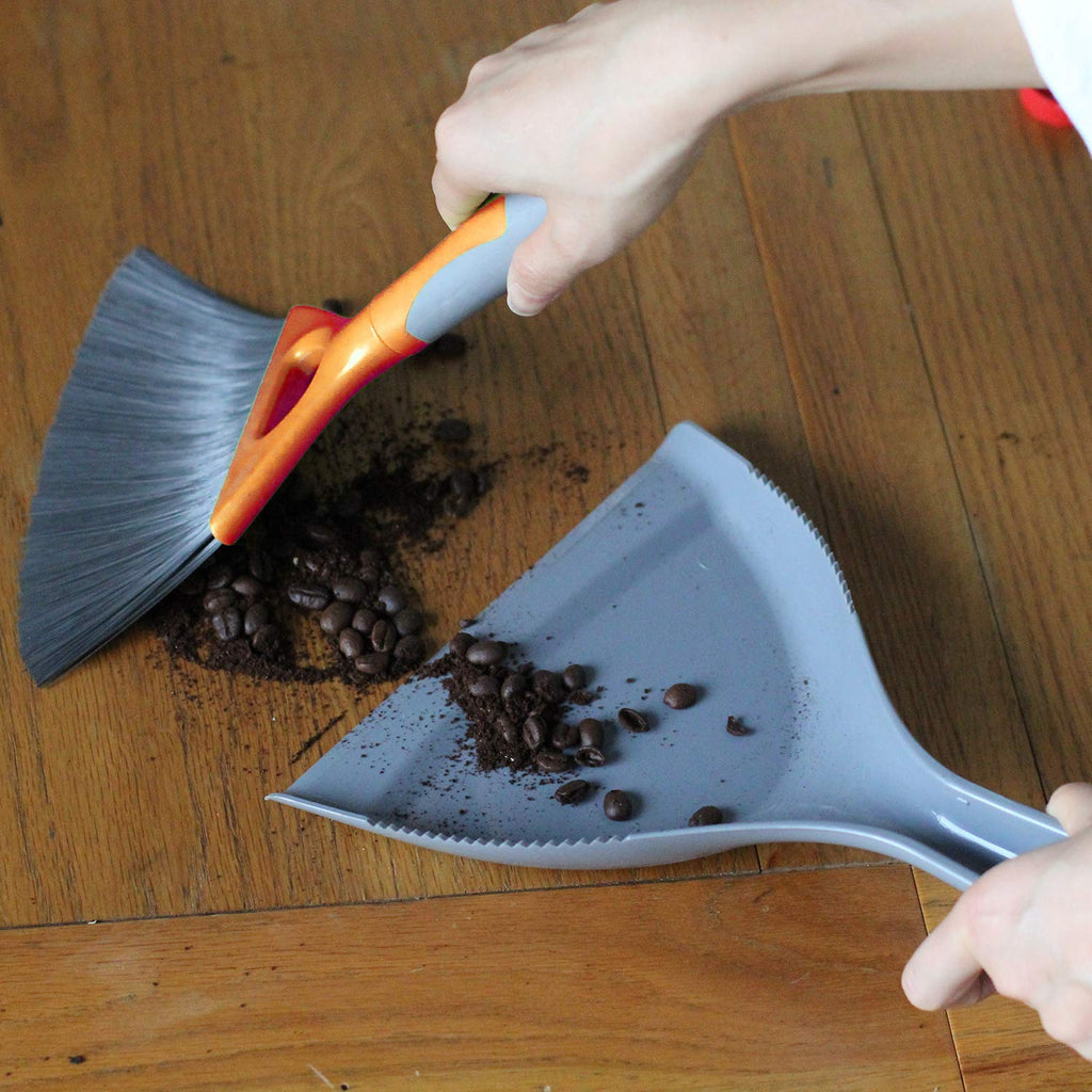 Small Dustpan and Brush Set For Table, Count Small Area Use, Grey And Orange