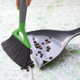 Small Dustpan and Brush Set For Table, Count Small Area Use, Grey And Green