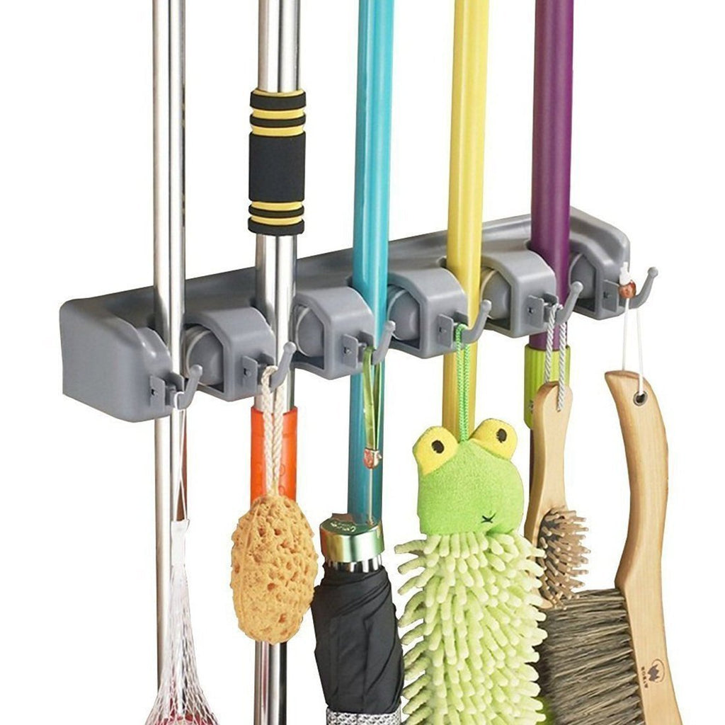 Broom Holder Wall Mount and Garden Tool Organizer, Closet Storage
