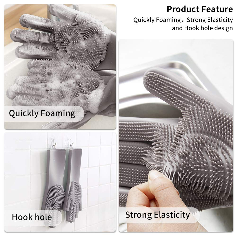 Magic Reusable Silicone Gloves, Dishwashing and Cleaning Gloves (Gray)