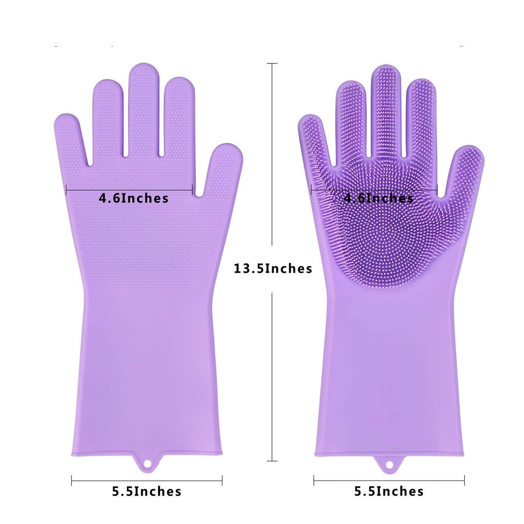 Magic Reusable Silicone Gloves, Dishwashing and Cleaning Gloves (Purple)