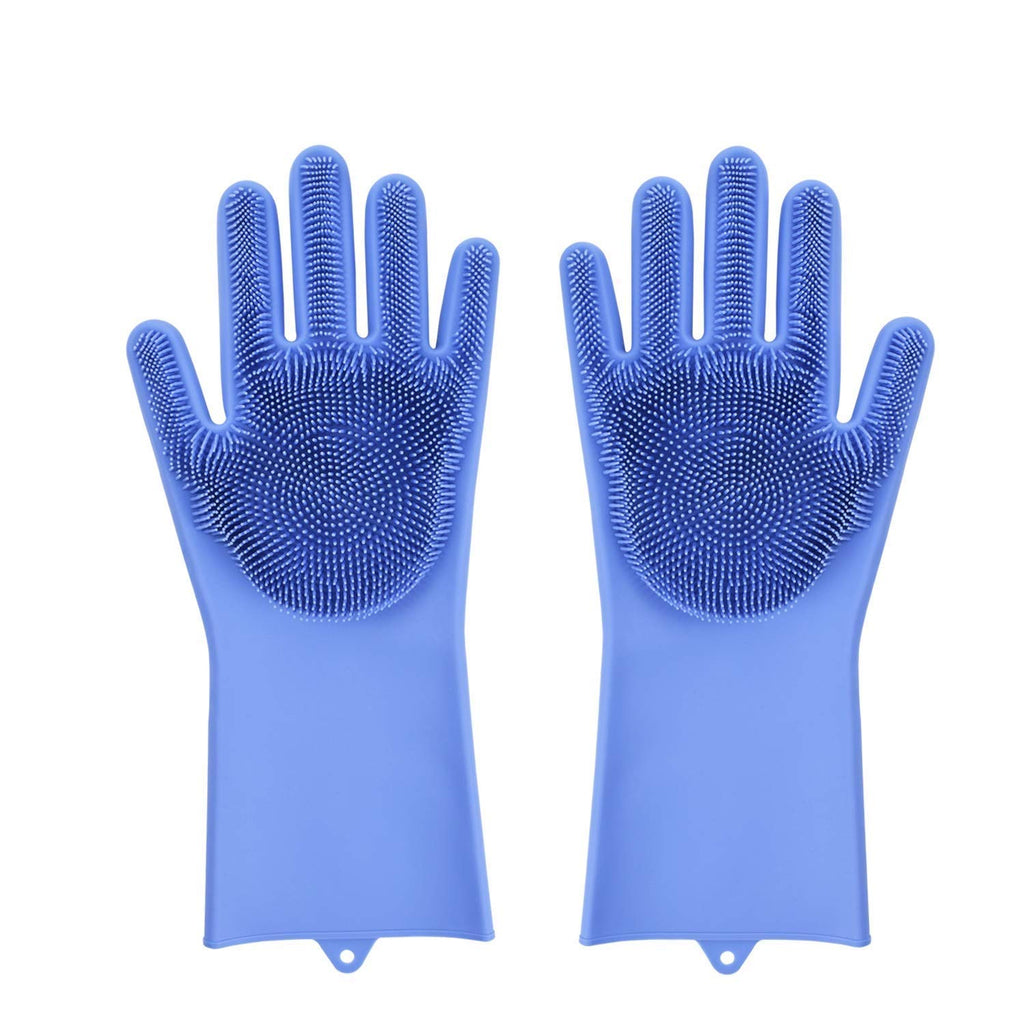 Magic Reusable Silicone Gloves, Dishwashing and Cleaning Gloves (Blue)