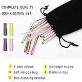 Stainless Steel Straw, Multicolor Reusable Drinking Straws 8.5 inch (8 Pack)
