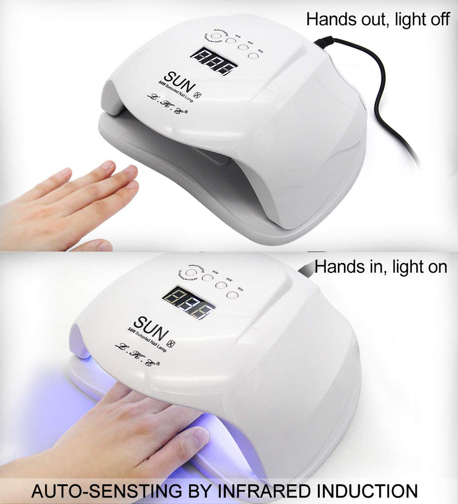 54W Professional UV LED Gel Nail Lamp Polish Curing Dryer Light (White)