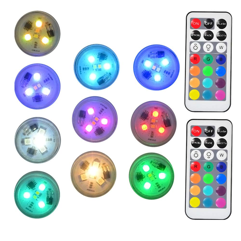 "1.5"" Round Submersible LED Lights Exclusive 100% Waterproof (10 Pack)"