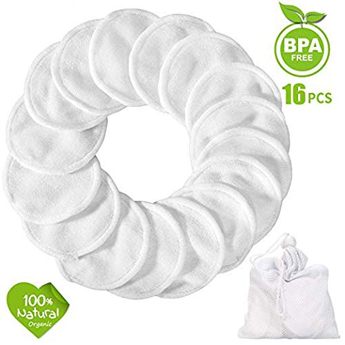 Reusable Make up Remover Pads 16 Packs, Washable Bamboo Cotton Pad (White)