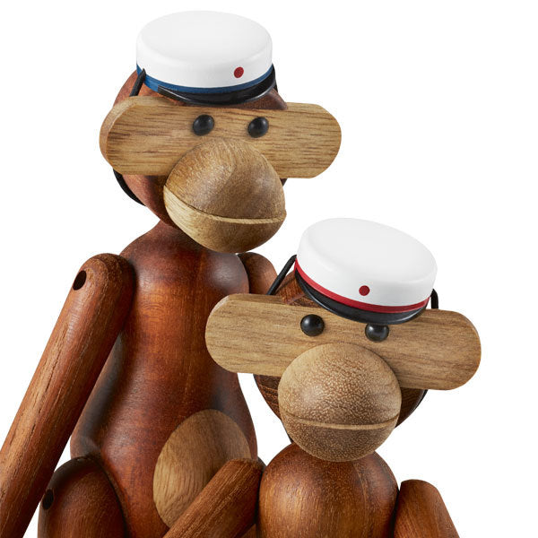 Kay Bojesen's Student Cap Fits Perfectly Small Wooden Monkey White-Blue