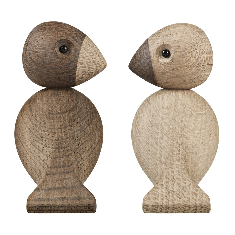 Kay Bojesen Lovebirds - Set of 2 - Natural/Smoked Oak 9.5 cm