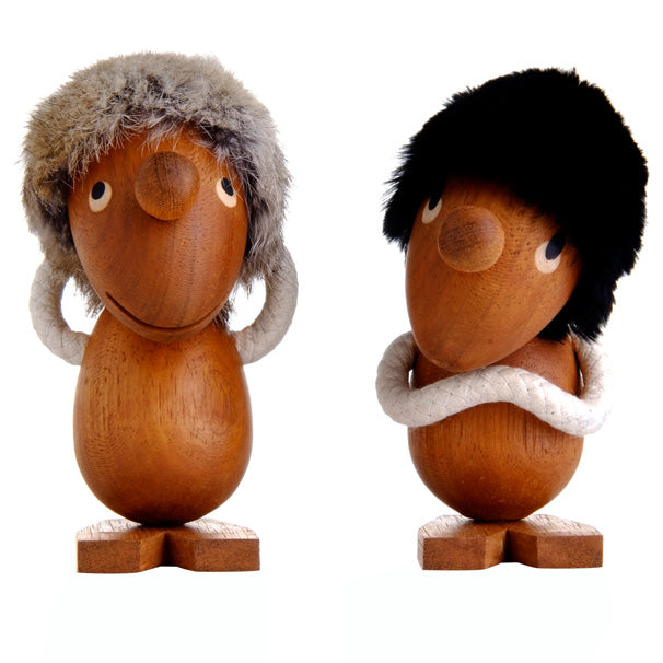 Hans Bolling Figurines wooden puppet two small hair ornaments H 13 cm