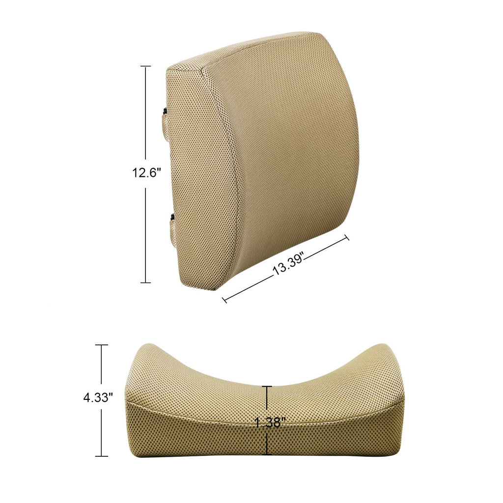 Memory Foam Lumbar Support Back Cushion with 3D Mesh Cover (Beige)