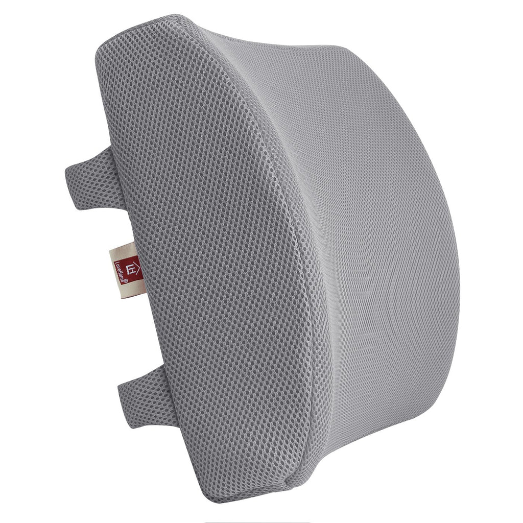 Memory Foam Lumbar Support Back Cushion with 3D Mesh Cover (Grey)