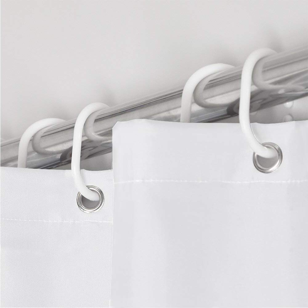 Shower Curtain Mould and Mildew Resistant Solid White, 180 x 180 cm