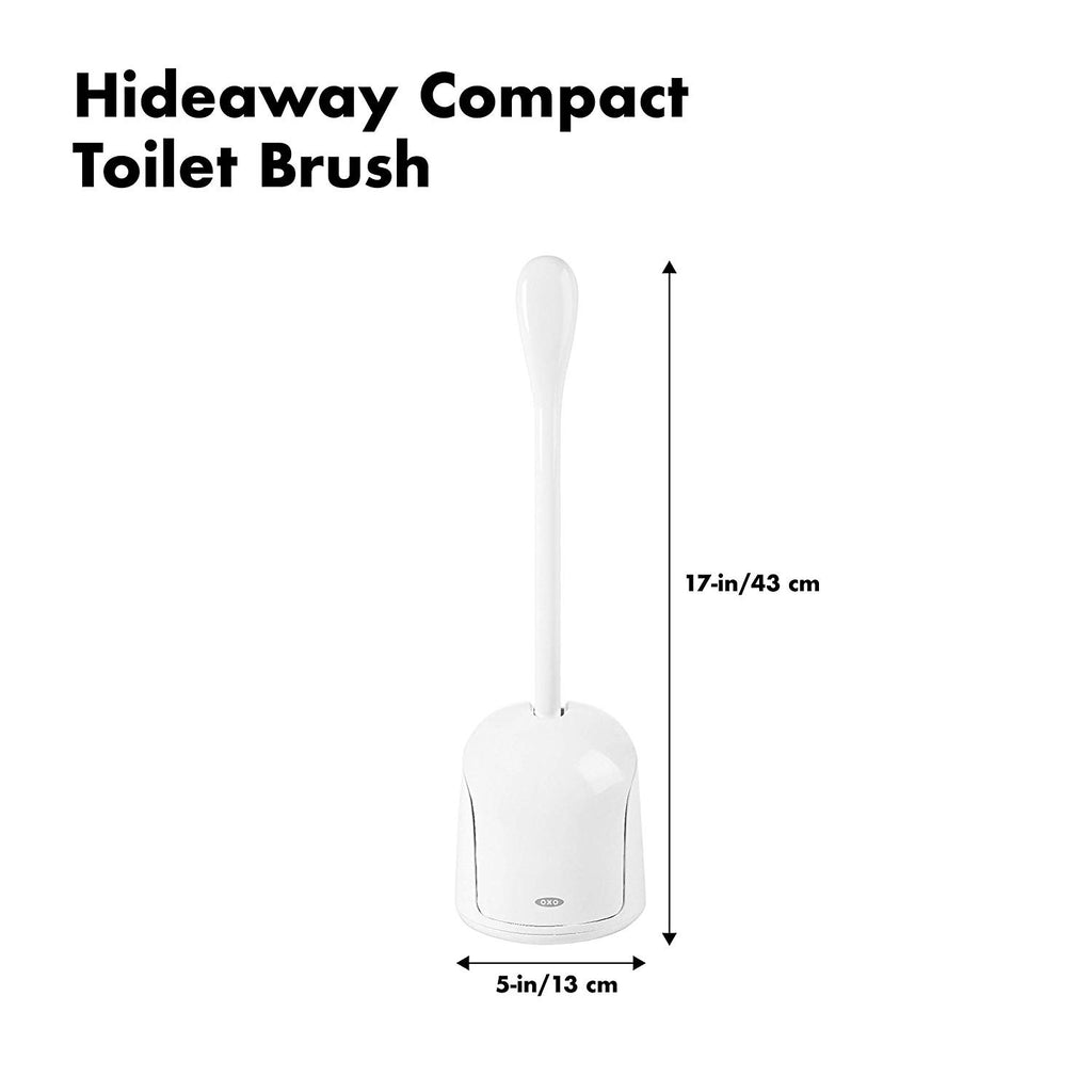 Good Grips Hideaway Compact Toilet Brush, White and Blue