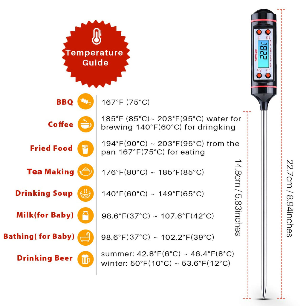 Kitchen Cooking Thermometer, Digital Multi-functional Food Thermometer