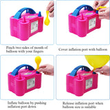 Portable Dual Nozzle Rose Red 110V 600W Electric Balloon Blower Pump (Rink)