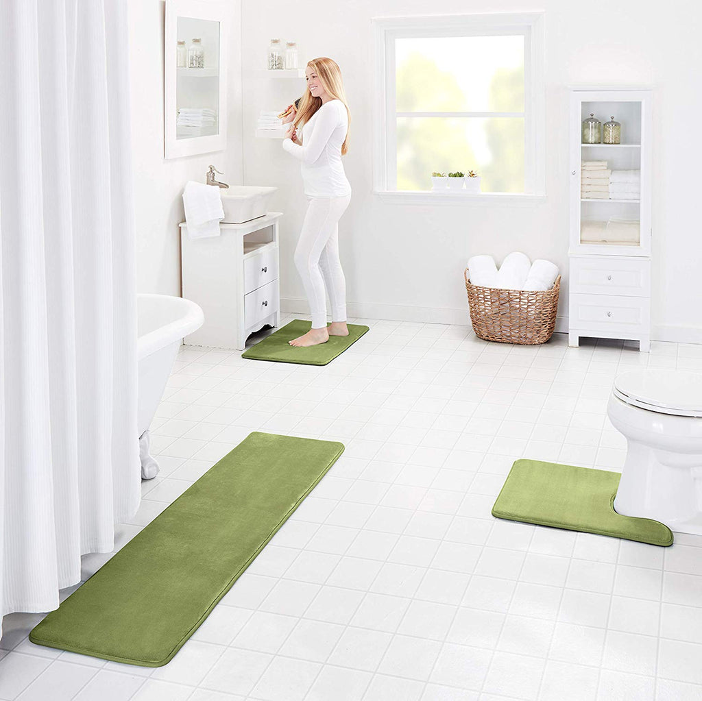 Memory Foam Bath Mat Non Slip Absorbent Super Cozy Velvet Bathroom Rug Carpet ( Green)