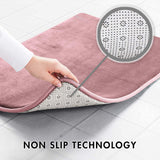 Memory Foam Bath Mat Non Slip Absorbent Super Cozy Velvet Bathroom Rug Carpet ( Mauve)