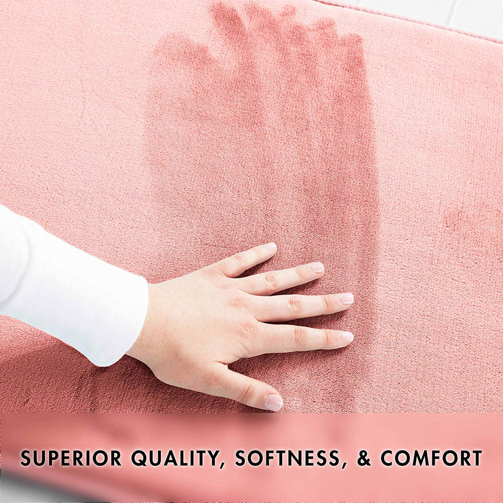 Memory Foam Bath Mat Non Slip Absorbent Super Cozy Velvet Bathroom Rug Carpet (Peach)