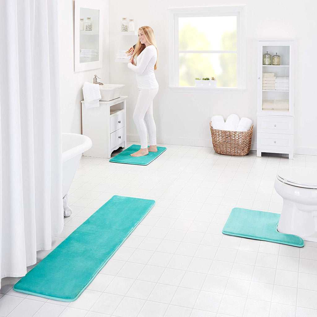 Memory Foam Bath Mat Non Slip Absorbent Super Cozy Velvet Bathroom Rug Carpet (Teal)