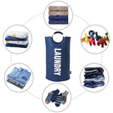 Laundry Basket with Coin Bag Collapsible Fabric Laundry Hamper (L, Dark Blue)