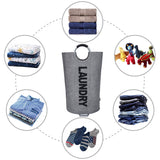 Laundry Basket with Coin Bag Collapsible Fabric Laundry Hamper (L, Dark Grey/Linen Imitation)