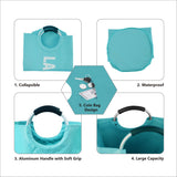 Laundry Basket with Coin Bag Collapsible Fabric Laundry Hamper (L, Light Blue)