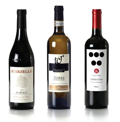 Italian red and white wine - Barolo Gavi Barbera Piemonte