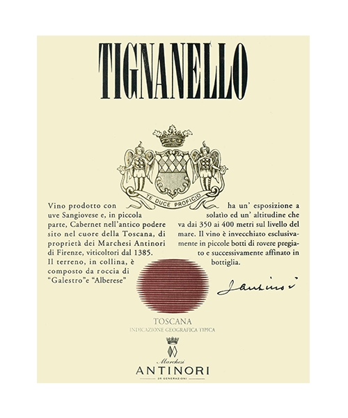 Italian red wine - Antinori - Tignanello Tuscany Super Tuscan