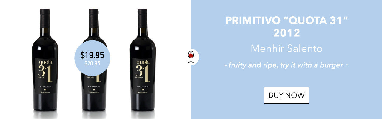 Italian red wine Primitivo Quota 31 Salento