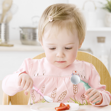 Owl shaped Baby Feeding Training Flexible Cutlery, Spoon & Fork (Material: Food Grade Silicone)