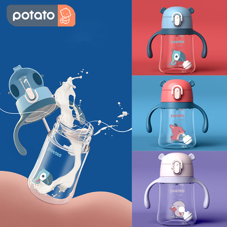 POTATO Baby Straw Water Cup Drinking Bottle Sippy Suction Cup (8oz/10oz, TC6059) - PotatoBB