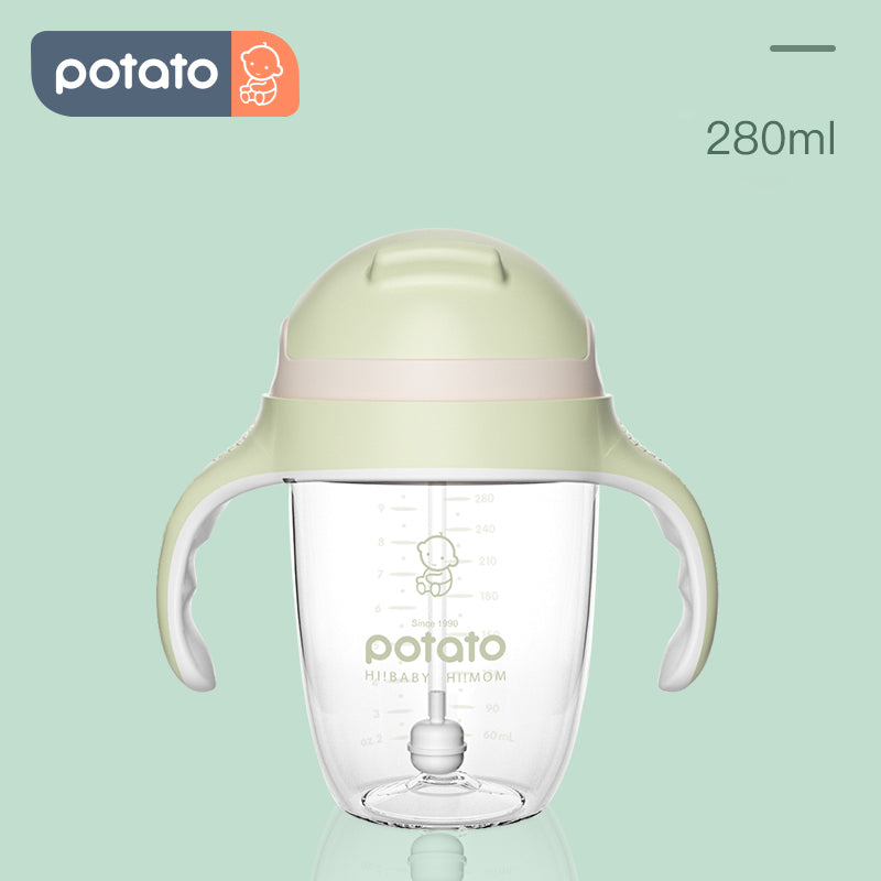 POTATO Baby Straw Cup Drinking Bottle Sippy Suction Cup (9oz, U-Cup&V-Cup)
