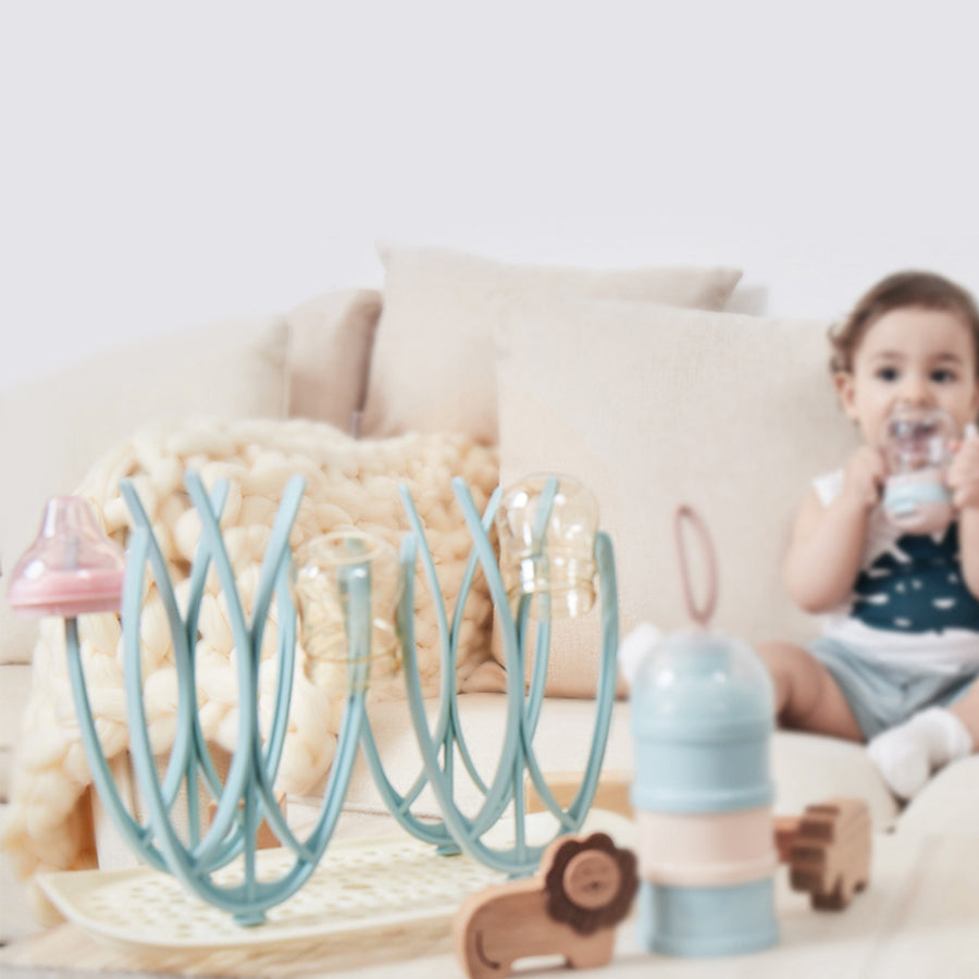Baby Bottle Drying Rack with Removable Water Tray Drying Rack (Blue)
