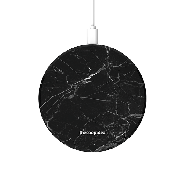 MOON - Marble Black Wireless Charging Pad - thecoopidea