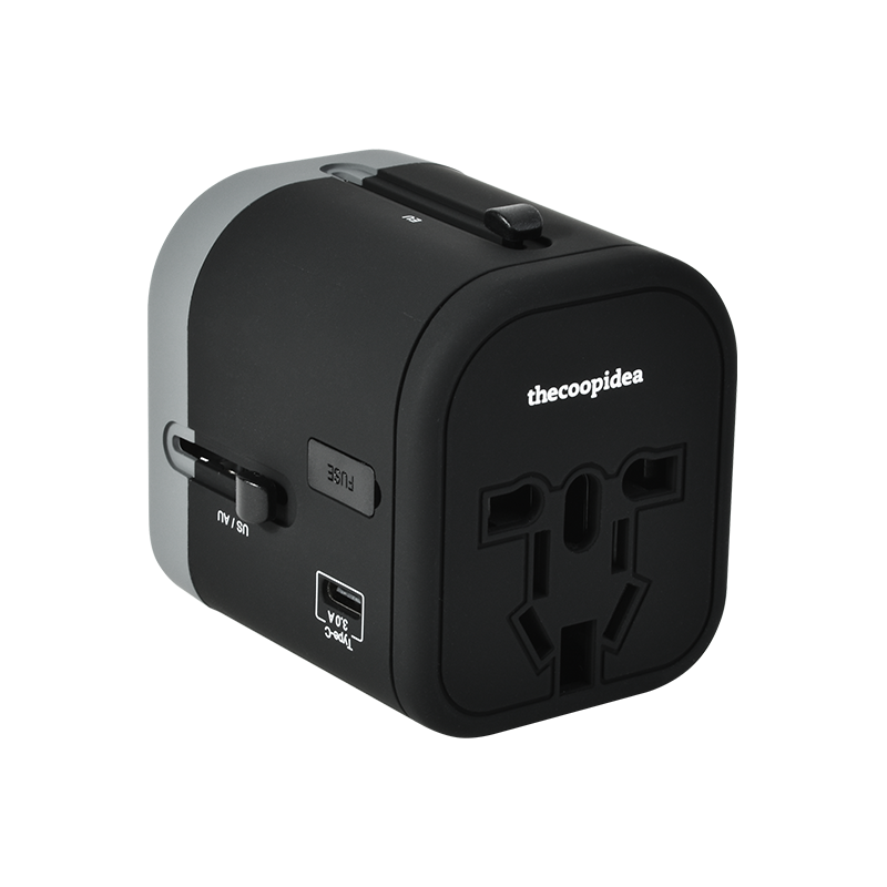 thecoopidea - WANDER PLUS 4 IN 1 Travel Adapter- Black