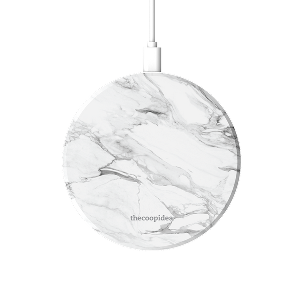 MOON - Marble White Wireless Charging Pad - thecoopidea
