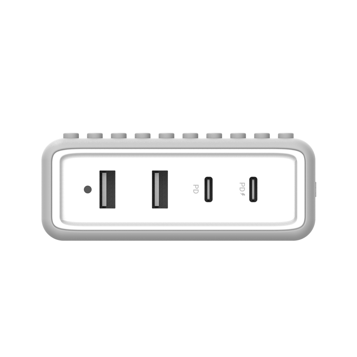 BUILDER BLOCK - Type-C 65W 4 Ports PD Charger - Grey