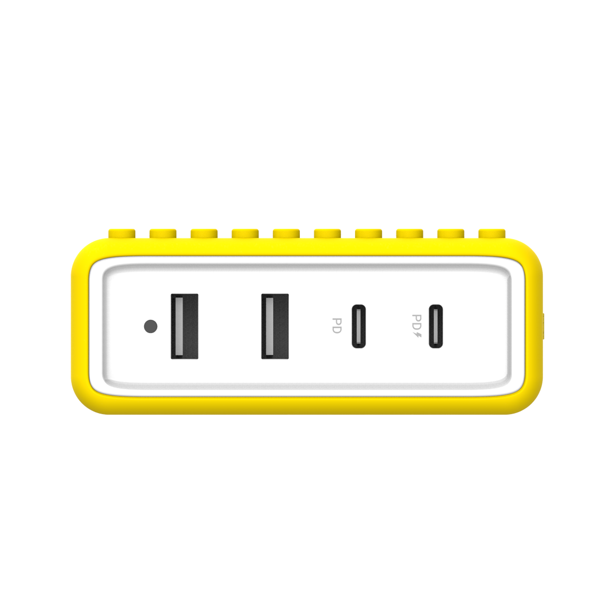 BUILDER BLOCK - Type-C 65W 4 Ports PD Charger - Yellow