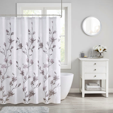 Intelligent Design Magnolia Printed Floral Metallic Shower Curtain.