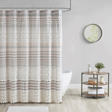 Calum Cotton Yarn Dye Shower Curtain with Pom Poms.