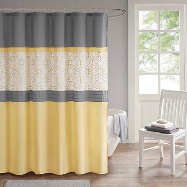 Donnell Embroidered and Pieced Shower Curtain with Liner.
