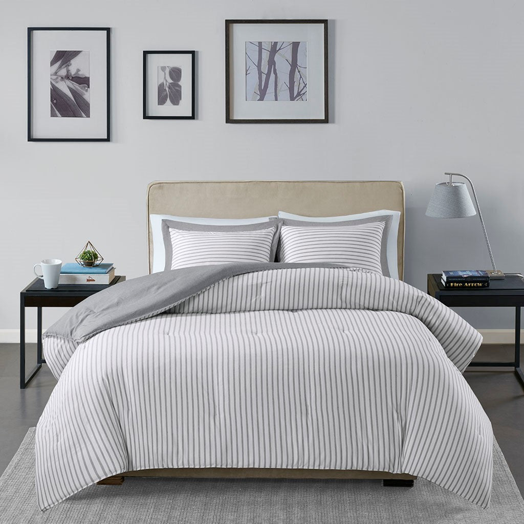 Hayden Reversible Yarn Dyed Stripe Down Alternative Comforter Set