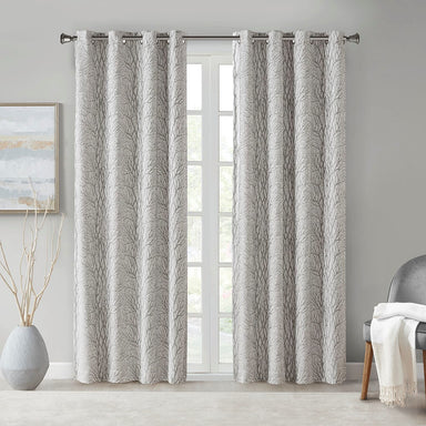 Everly 100% Polyester Branch Jacquard Total Blackout Window Panel.