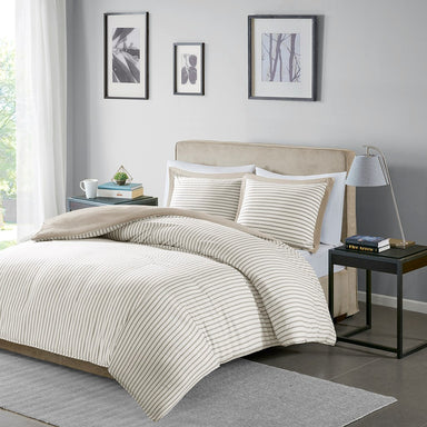 Hayden Reversible Yarn Dyed Stripe Duvet Cover Set.