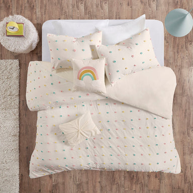 Callie Cotton Jacquard Pom Pom Duvet Cover Set.