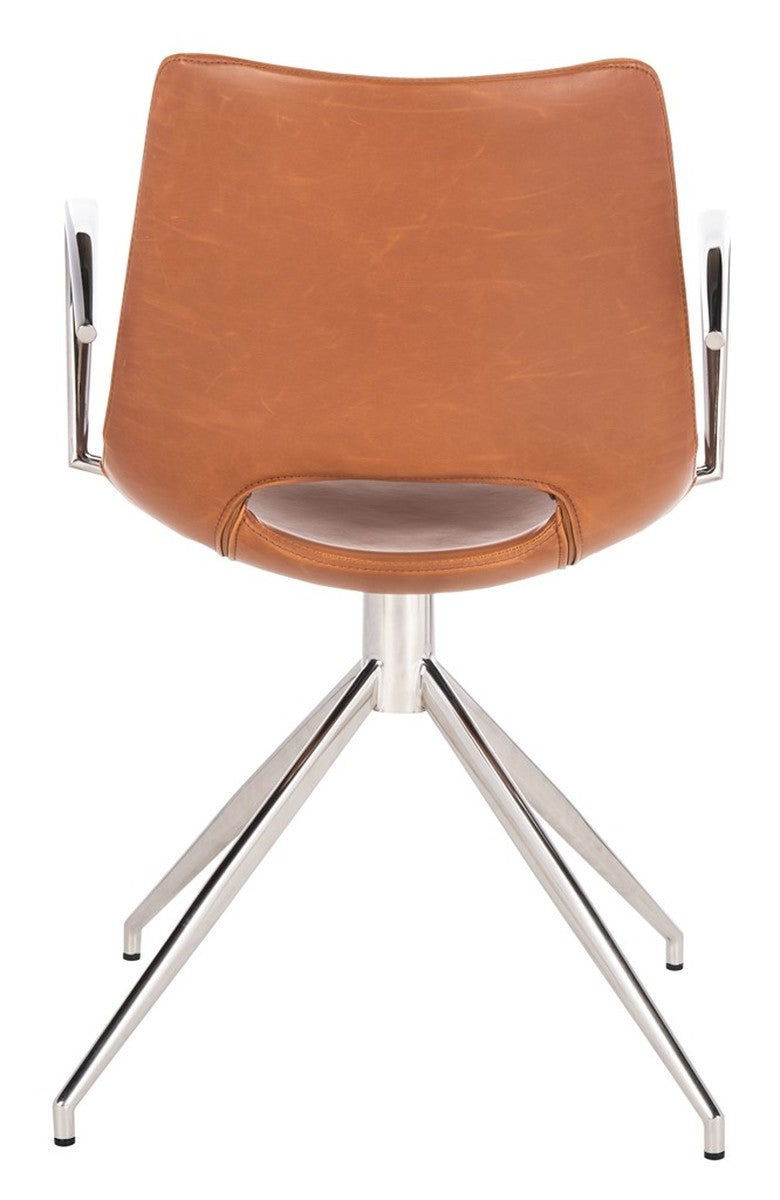 Dawn Midcentury Modern Leather Swivel Office Chair.