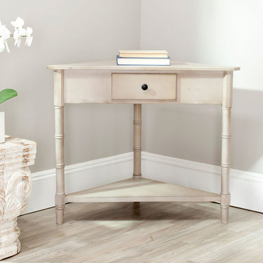 Gomez Corner Table With Storage Drawer.