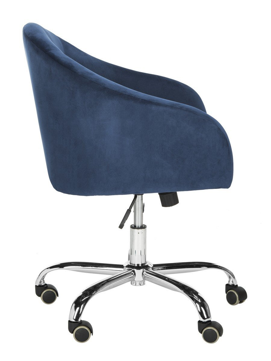 Amy Tufted Velvet Chrome Leg Swivel Office Chair