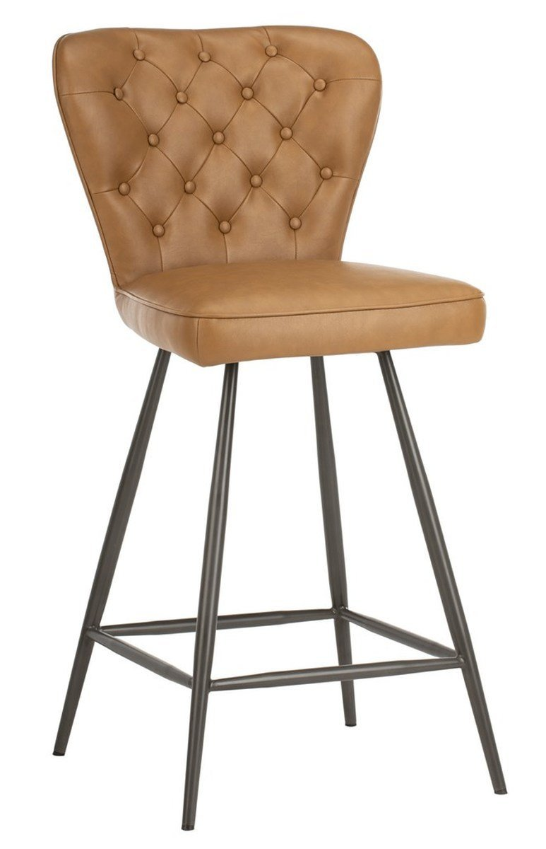Ashby Mid Century Modern Leather Tufted Swivel Counter Stool (Set of 2).